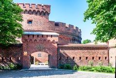 Ingang aan het ambermuseum. Kaliningrad Stock Foto's