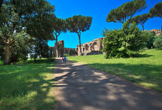 Ingang aan het Roman archeologische museum van het Forum Stock Afbeelding