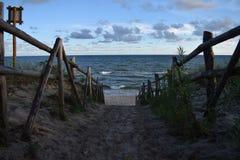 Ingang aan het strand Stock Foto's