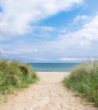 Ingang aan het strand in Rugen-eiland, Noordelijk Duitsland royalty-vrije stock foto