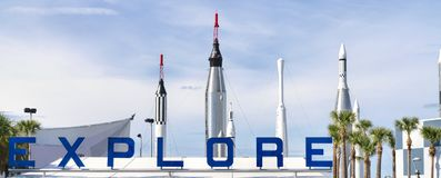 Ingang aan Kennedy Space Center royalty-vrije stock afbeelding