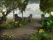 Ingang aan magische tuin Stock Foto