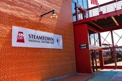 Ingang aan Nationaal Historisch de Plaats Hoofdgebouw van Steamtown Royalty-vrije Stock Foto