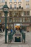 Ingang aan oude straat ondergrondse WC Wenen, Oostenrijk Royalty-vrije Stock Foto's