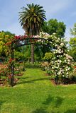 Ingang aan roze tuin Stock Fotografie
