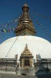 Ingang aan stupa Swayambhunath in Katmandu royalty-vrije stock fotografie