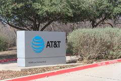 Ingang aan AT&T die Campus in Irving, Texas, de V.S. opleiden Stock Afbeelding