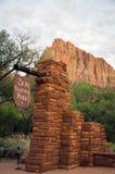 Ingang aan Zion National Park in Utah Royalty-vrije Stock Foto