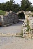 Ingang bij het oude stadion van Olympia in Griekenland Stock Foto