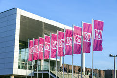 Ingang en vlag van ISM in Keulen Royalty-vrije Stock Foto's