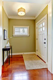 Ingang met groene muren en kersenvloer. Stock Fotografie