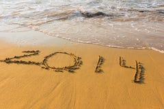 Ingang op de bank van het warme overzees in cijfers Royalty-vrije Stock Foto's