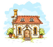 Ingang in oud sprookjehuis met tegelsdak Stock Foto's