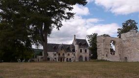 Ingang van abdij van Jumieges, Normandië Frankrijk stock footage