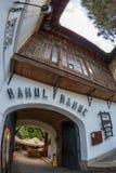 Ingang van van de Herbergenhanul van Manuc ` s lui Manuc, Boekarest, Roemenië royalty-vrije stock fotografie