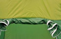 Ingang van groene tent Stock Foto