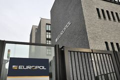 Ingang van het Hoofdkwartier van EUROPOL in Den Haag, Den Haag. Royalty-vrije Stock Foto's