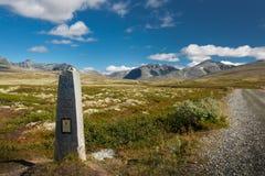 Ingang van het Rondane de nationale park in Noorwegen stock afbeelding