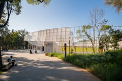 Ingang van Houli Forest Park van Taichung-Wereld Flora Exposition royalty-vrije stock foto's