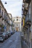 Ingang van verginikathedraal van Sant ` Agata alle van Catanië Stock Fotografie