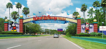 Ingang van Walt Disney World in Orlando, Florida Stock Fotografie