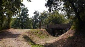 Ingangsbrug van kasteel Ganne in Normandië stock videobeelden