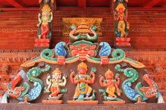 Ingangspaneel van het heiligdom van Shree Kumari in Katmandu, Nepal Stock Fotografie