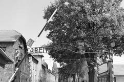 Ingangspoort aan Auschwitz-concentratiekamp Stock Afbeelding