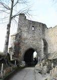 Ingangspoort aan het kasteel en het klooster van Oybin Royalty-vrije Stock Afbeeldingen