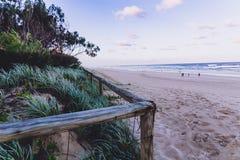 Ingangsweg aan het strand in Surfersparadijs met groen nex stock afbeeldingen