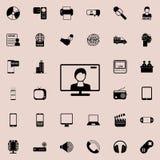 ingannare l'icona dello schermo della TV Insieme dettagliato delle icone minimalistic Progettazione grafica premio Una delle icon Immagine Stock Libera da Diritti