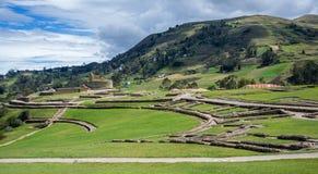 Ingapirca古老印加人废墟的全景  免版税库存图片