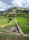 Ingapirca古老印加人废墟的全景  库存图片