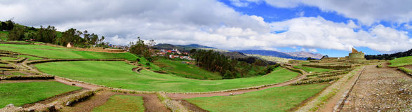 Ingapirca  Ancient stone ruins in Ecuador panorama Royalty Free Stock Images