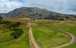 Ingapirca, archaeological complex, landscape. Open view of the archaeological complex of Ingapirca, at Cañar, Ecuador stock image