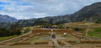 Ingapirca, archaeological complex, tourists, landscape. Group of tourists on the archaeological complex of Ingapirca, at Cañar, Ecuador royalty free stock photos