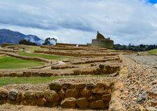 Ingapirca, archaeological complex, walls and pyramid. Base walls and pyramid of the archaeological complex of Ingapirca, at Cañar, Ecuador stock photo