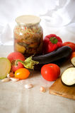Ingeblikt de tomatenknoflook van de auberginepompoen Royalty-vrije Stock Fotografie