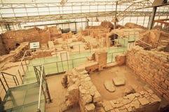 Ingeblikte archeologische complex van historische Ephesus-stad met Terrashuizen van Roman periode Stock Foto