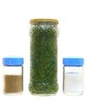 Ingeblikte greens, peper en zout Stock Foto