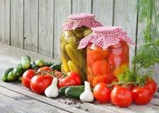 Ingeblikte tomaten en ingelegde komkommers Stock Foto