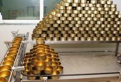 Ingeblikte voedselfabriek Stock Foto's