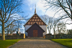 Ingedal church. Was built on the farm Bos ground so early as before 1250. The church is 19,6 meters long, 9,5 meters wide in the west and 8,7 meters wide in the Stock Photography