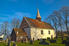 Ingedal church. Was built on the farm Bos ground so early as before 1250. The church is 19,6 meters long, 9,5 meters wide in the west and 8,7 meters wide in the Stock Images