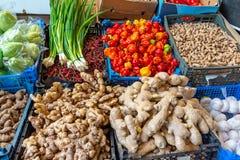 Ingefära, peppar, jordnötter och vitlök arkivfoton