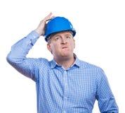 Ingegnere in casco blu Fotografia Stock