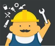 Ingegnere con lo strumento nel casco della costruzione Fotografia Stock Libera da Diritti