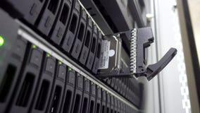 Ingegnere dell'IT installare disco rigido in scaffale del server Stanza di dati del cluster server Fine dettagliata e tecnicament stock footage