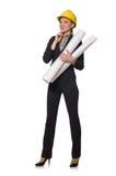 Ingegnere della donna con i progetti di documento Fotografia Stock