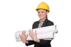 Ingegnere della donna con i progetti di documento Fotografia Stock Libera da Diritti